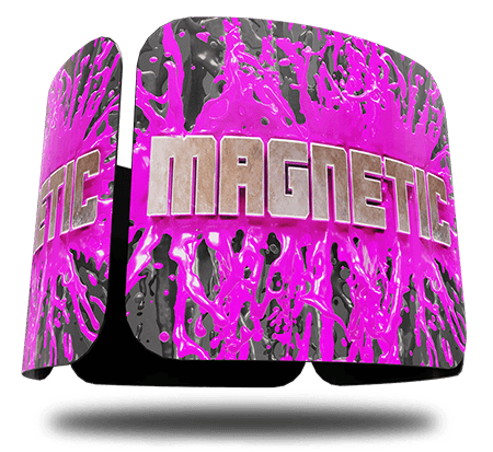 Three magnets bright pink floating